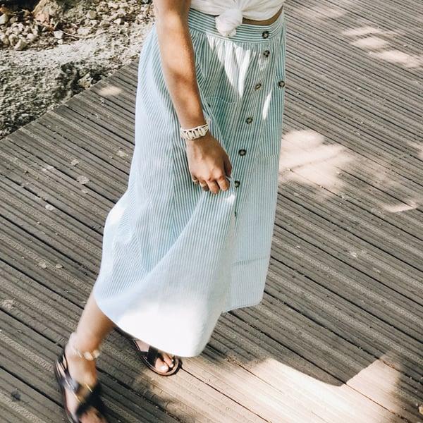 Jupe Lily rayures vertes - Maison Brunet Paris