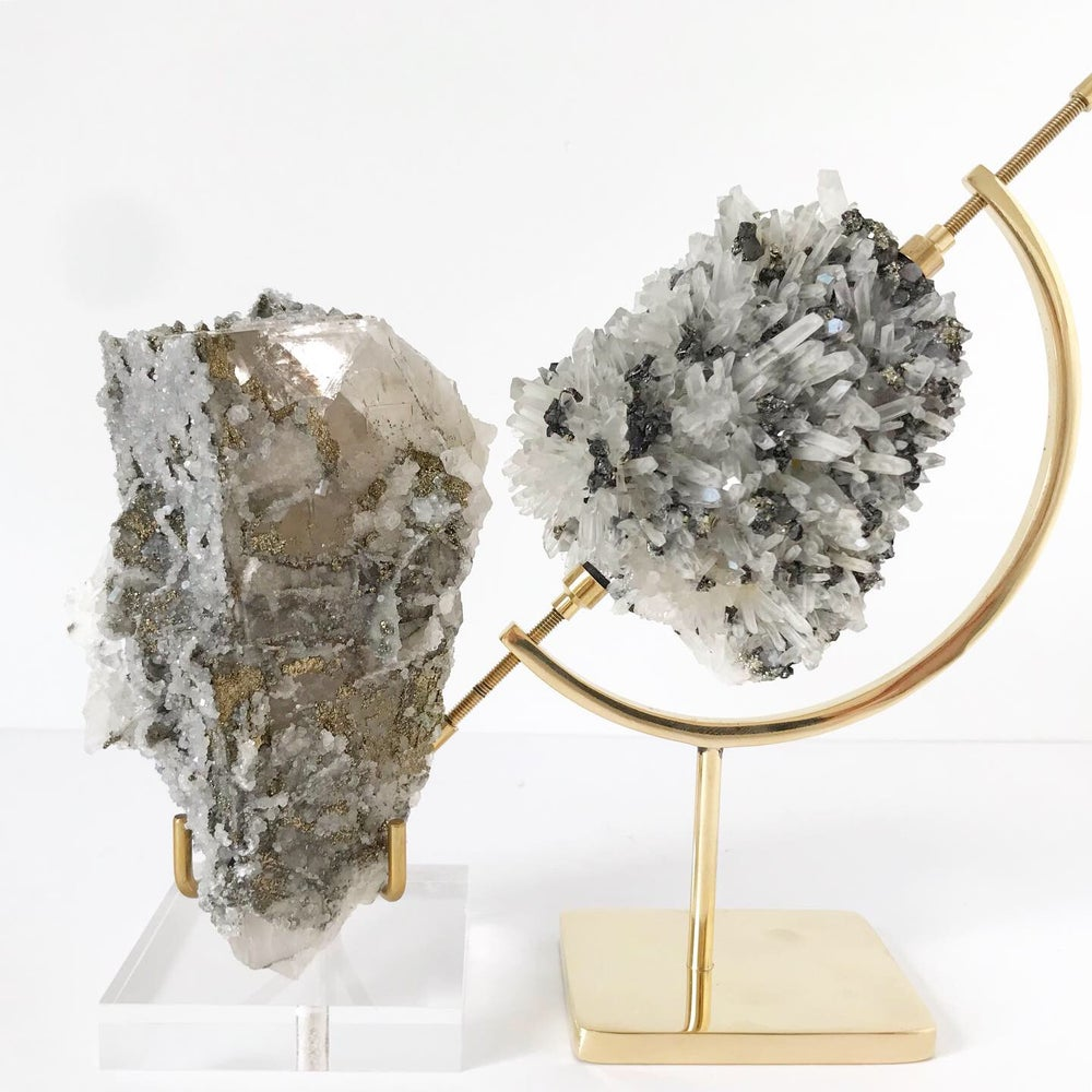 Image of Quartz/Galena/Chalcopyrite no.03 Luxe Collection Brass Pairing