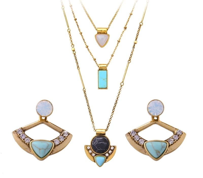 Image of Nefertiti Earring & Necklace Set