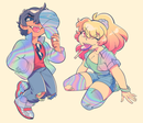 Image of Holographic Esther and Daniel stickers