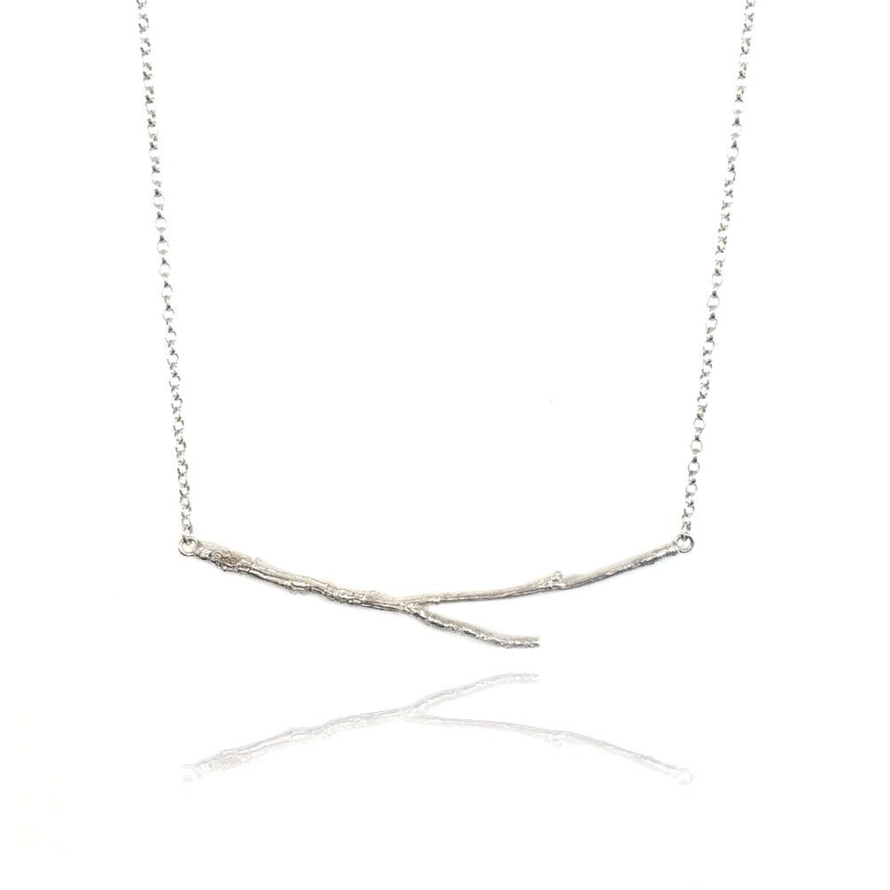 Image of Silver horizontal twig necklace