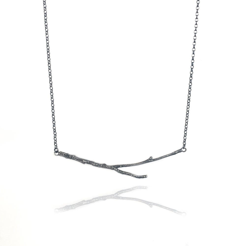 Image of Oxidised horizontal twig necklace