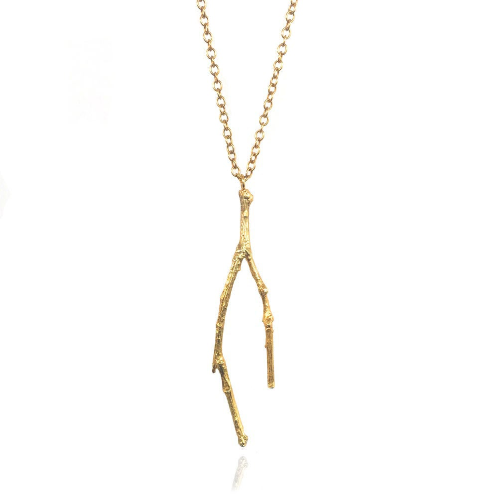 Image of Gold long twig necklace