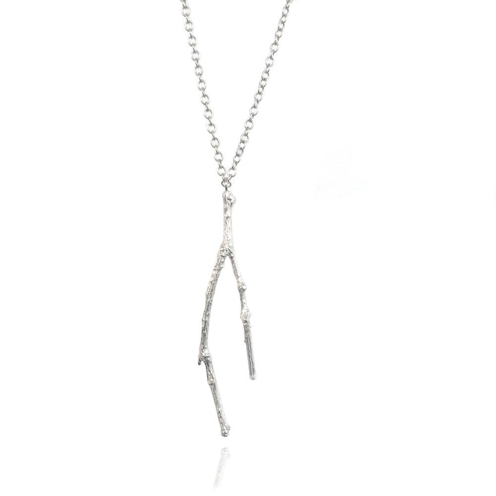 Image of Silver long twig necklace