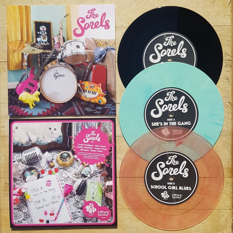 "Image of NEW! THE SORELS ""SHE'S IN THE GANG/SCHOOL GIRL BLUES"" 7"" PREORDER!"