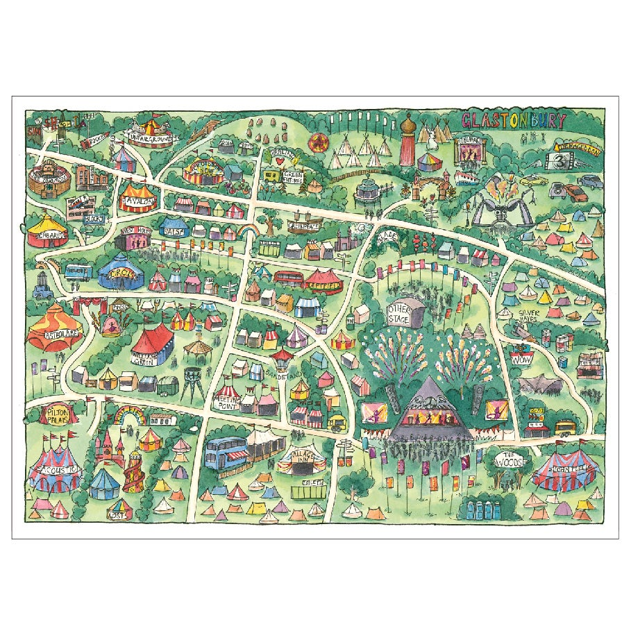 Image of Limited Edition Glastonbury Postcard | Castles in the Sky Map 2019