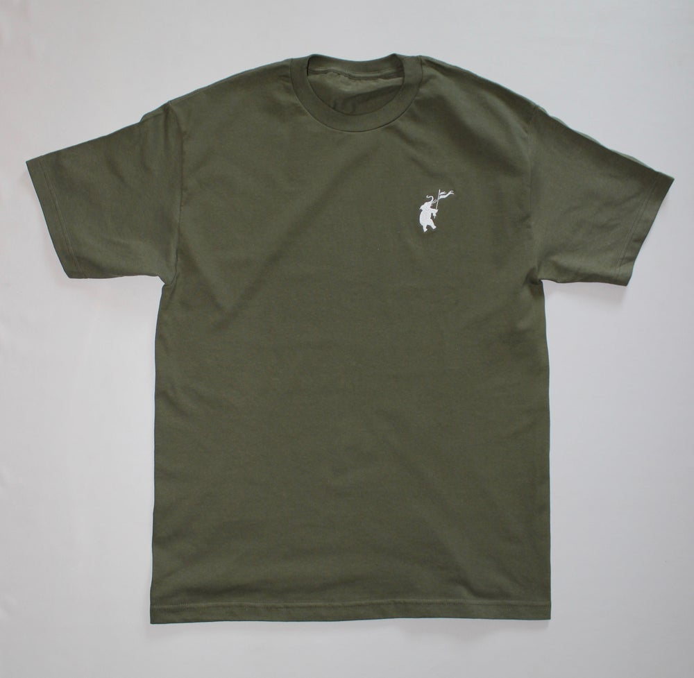 Image of OLIVE GREEN LOGO STITCH TEE