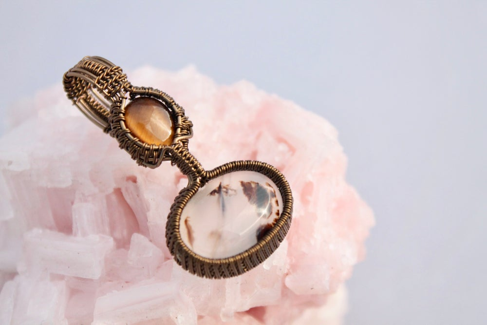 """Image of """"Geneva"""" Wire Wrapped Montana Agate & Yellow Tiger's eye Double Amulet Pendant"""
