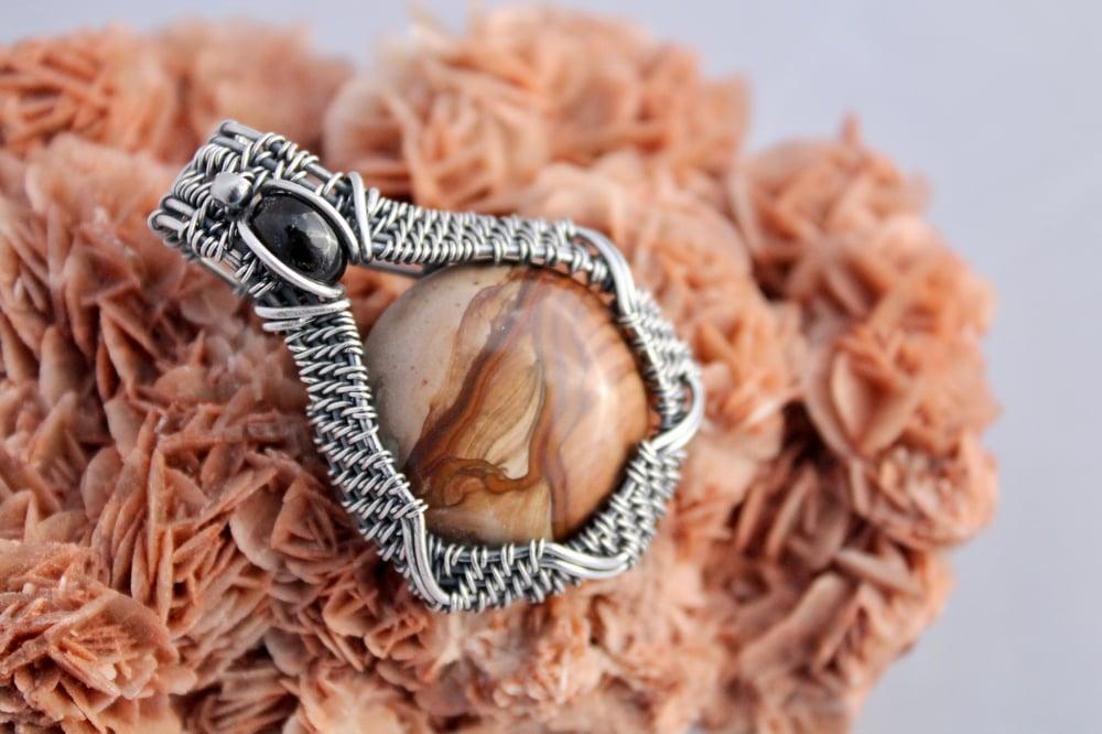 "Image of ""Quiñones"" Wire Wrapped Landscape Jasper & Smokey Quartz Amulet Pendant In Oxidized Sterling Silver"