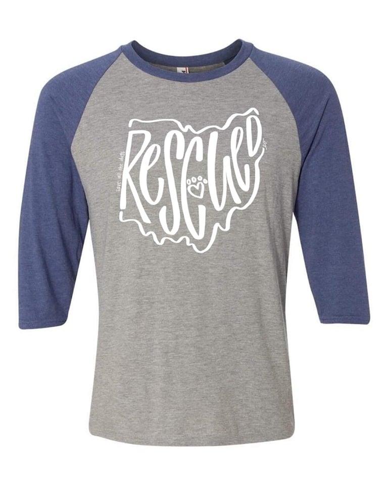 Image of RESCUED raglan (grey/blue)