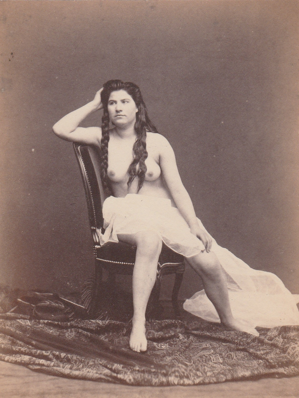 Image of Anonyme: female nude with long hair, ca. 1875