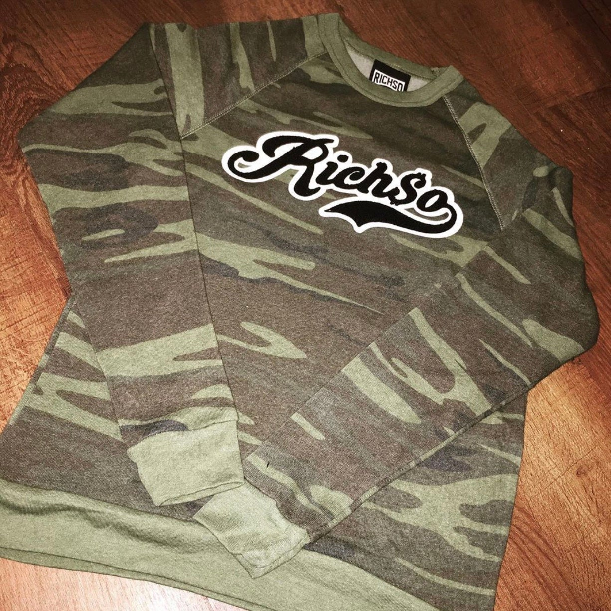 Image of Chenille RICHSO Script Sweater (camo)