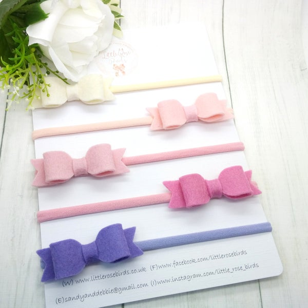 Image of SET OF 5 Bows on Clips or Headbands