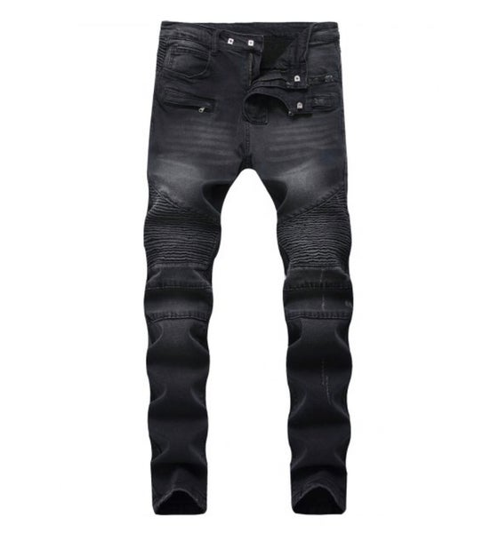 Image of Black Faded Distressed Denim