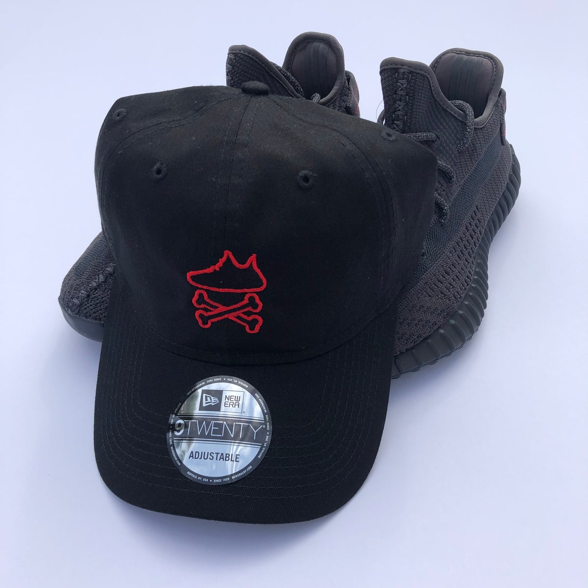 """Image of YEEZY CROSSBONES EMBROIDERY """"BLACK/RED"""" DAD HAT"""