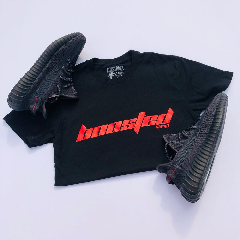 "Image of  BOOSTED ""CALABASAS"" RED --- T-SHIRT OR DAD HAT"