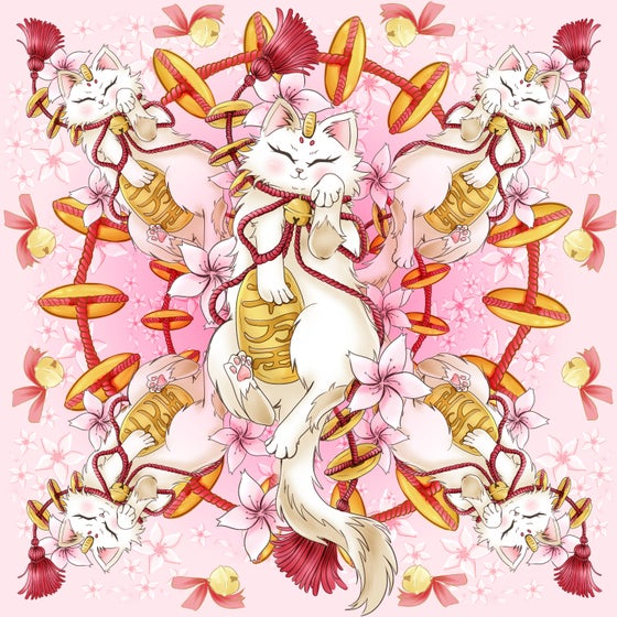 Image of Lucky Cat Silk Scarf