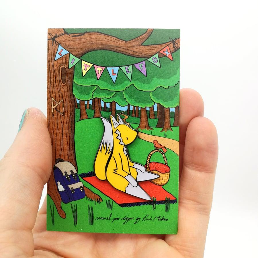 Image of Little Fox enamel pin.