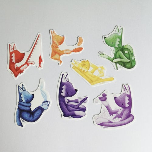Image of Little Fox rainbow sticker pack.