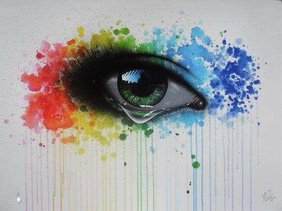"Image of MY DOG SIGHS - ""RAINBOW TEARS"" LTD ED OF JUST 60 - 80cm x 59cm"