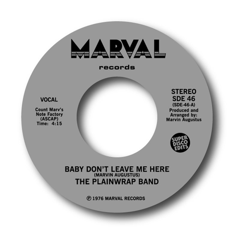 "Image of The Plainwrap Band ""Baby dont leave me here""/""How does it feel"" Marvel 45"