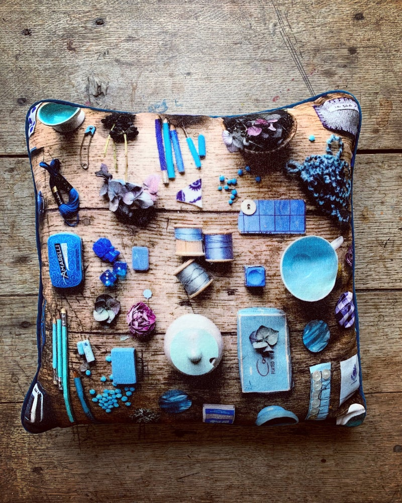 Image of RESERVED LISTING - Blue Velvet Cushion with Blue Silk Scarf