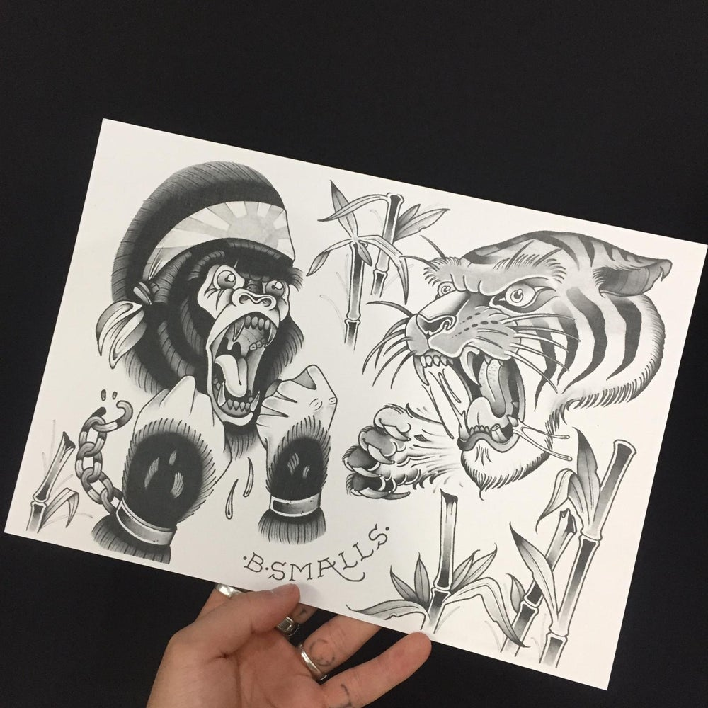Image of Gorilla and tiger print by Benny smalls