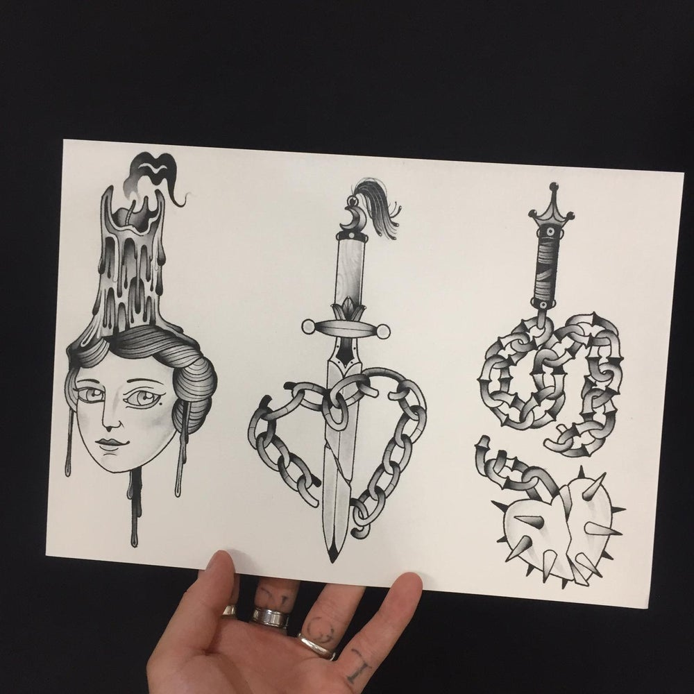 Image of Dagger and chains print by Benny smalls