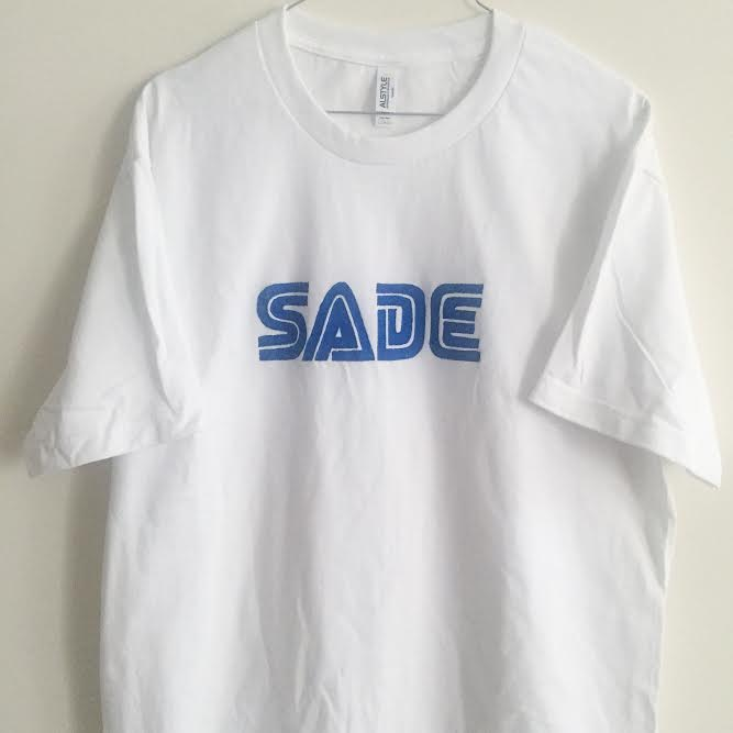 Image of sade blue logo hand drawn shirt