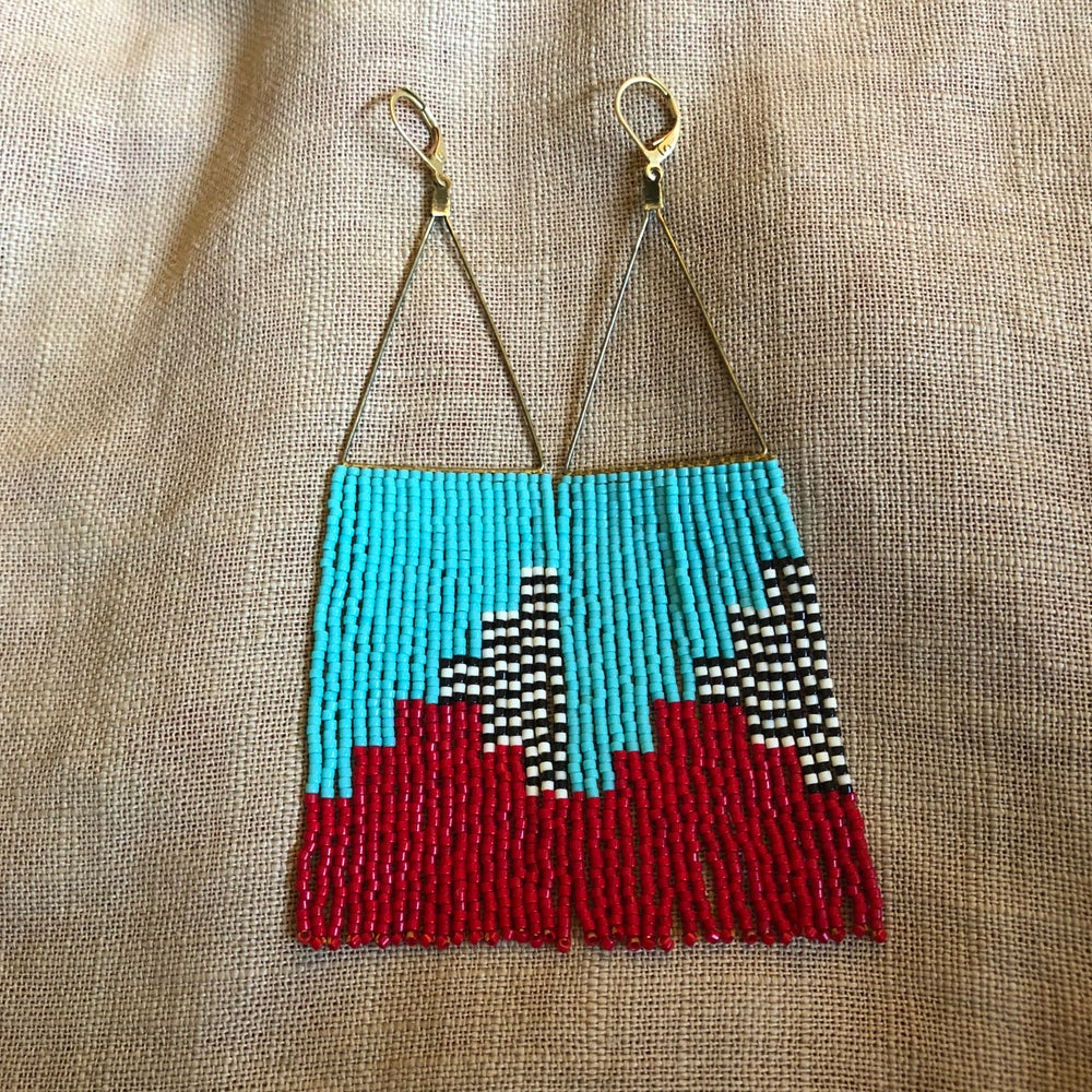 Image of CASCADIA - Turquoise, red, and strip fringe earrings