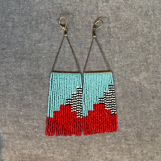 Image of NEWPORT 1922 - Turquoise, red, and strip fringe earrings