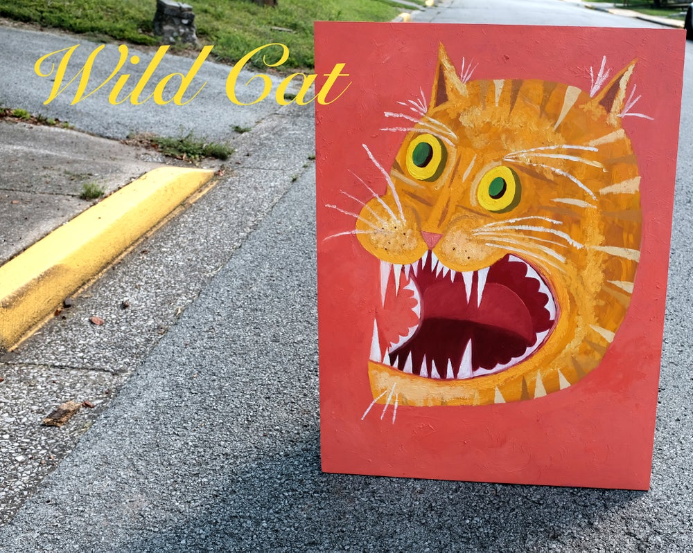 Image of Wild Cat! Original oil painting by Matte Stephens.