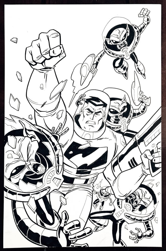 Image of ORIGINAL ART: T-BIRD & THROTTLE (moon men splash)