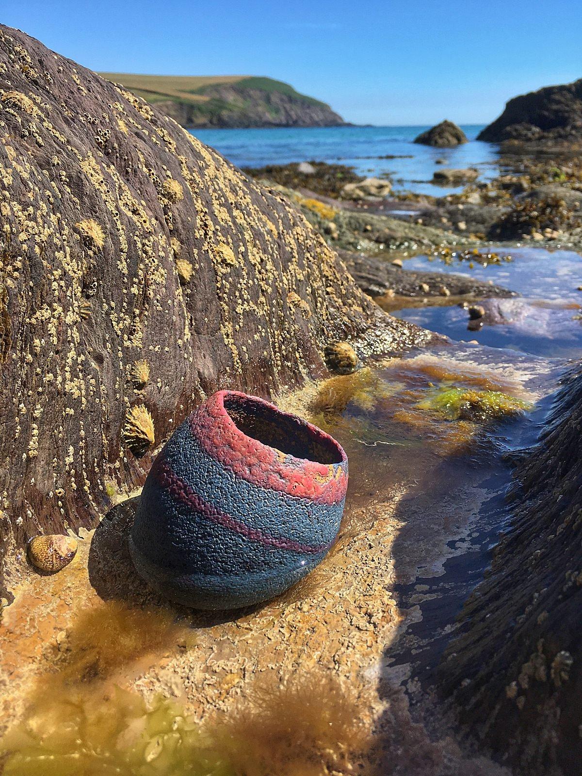 Image of Vase; Banded Cobalt