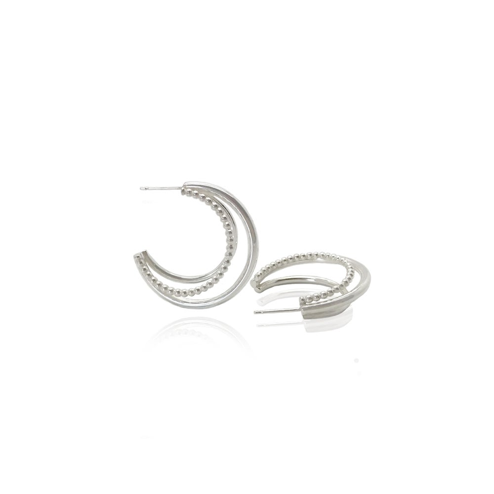 Image of Triple silver hoops