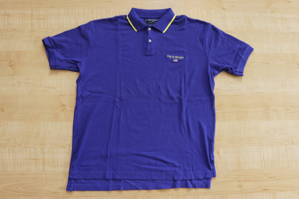 Image of Vintage 1990's Ralph Lauren Polo Sport Spell Out Blue Collard Shirt Sz.L