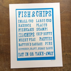Image of Fish & Chips menu screenprint on paper