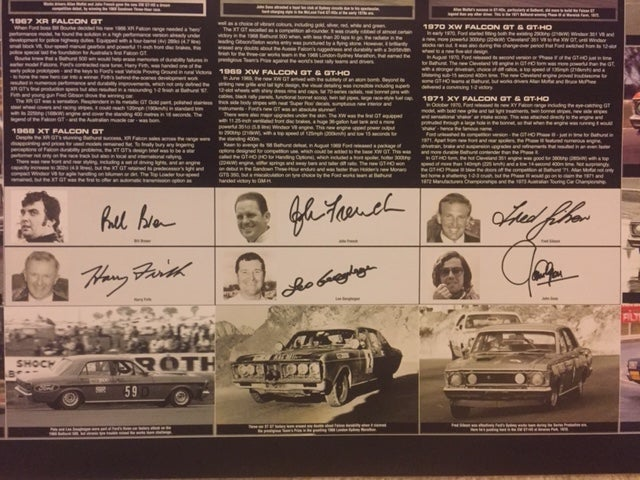 Image of Bathurst XR-XY Ford Falcon GT HO. Individually numbered, signed by 7 Ford drivers incl Allan Moffat