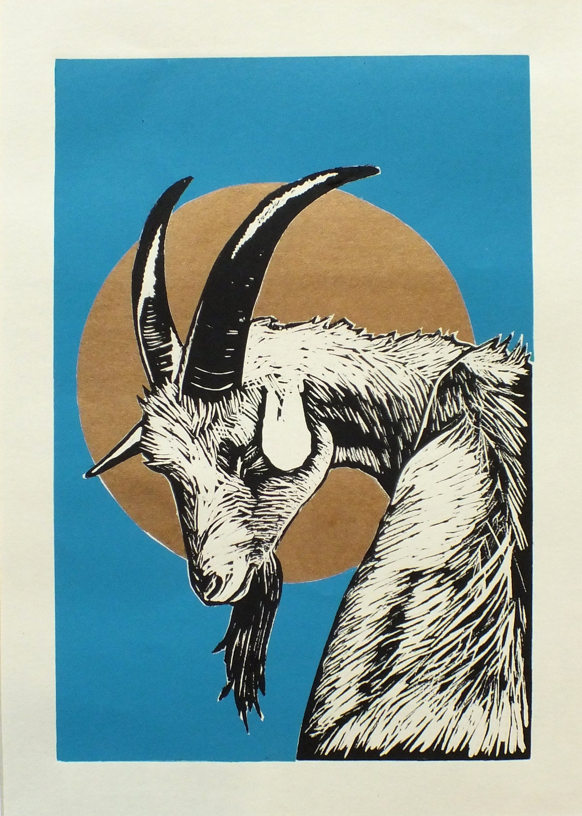Image of 'Holy Goat' linocut