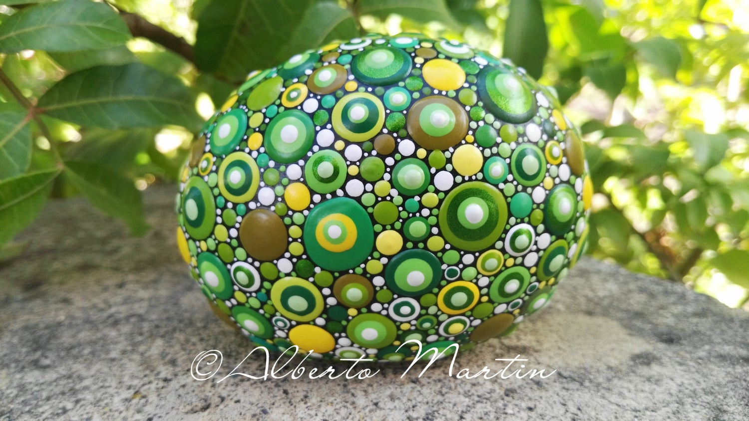 Image of Lucky Dotted painted Stone by Alberto Martin