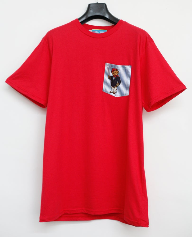 Image of Red Teddy Bear Pocket Tee Shirt