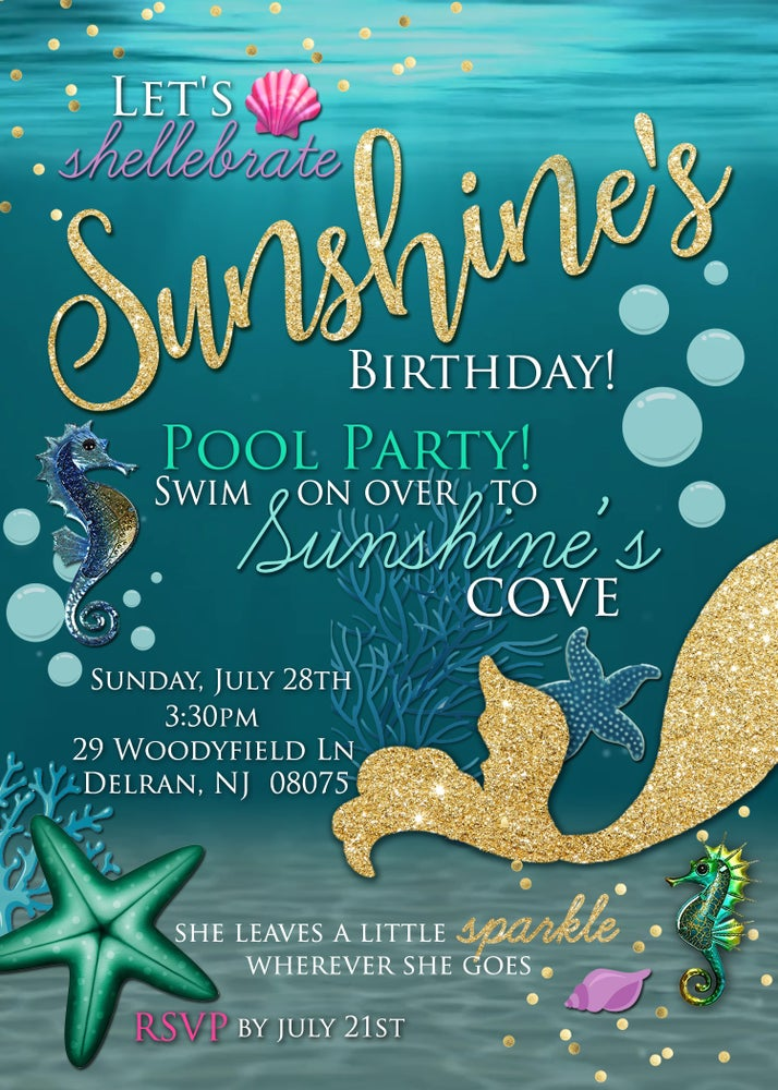 Image of Mermaid Pool Party Invitation