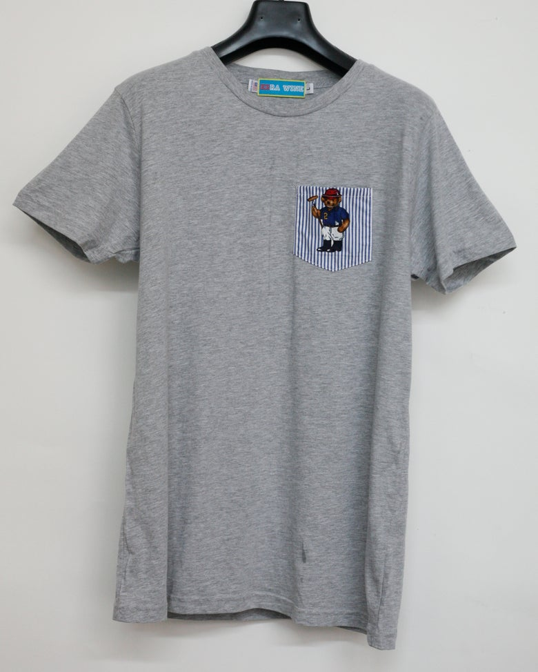 Image of Grey Teddy Bear Pocket Tee Shirt