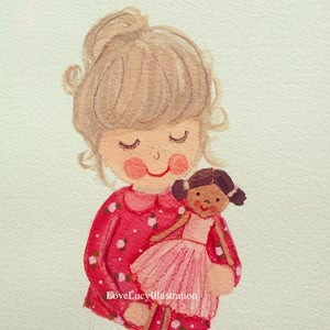 Image of Child & Teddy/Doll Painting