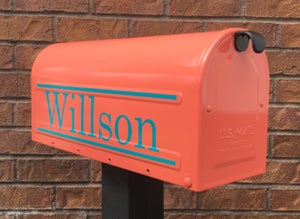 Image of Coral Painted Mailbox by TheBusBox - Choose from 76 different colors! Great for Housewarming Gift