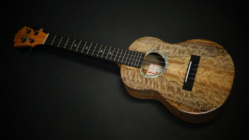 Image of KoAloha KTMR-00 Custom Build Rosette Tenor Curly Spalted Chocolate Mango