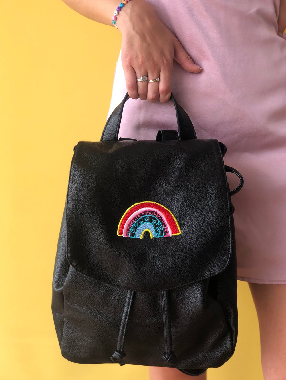 Image of Embrodiered rainbow backpack