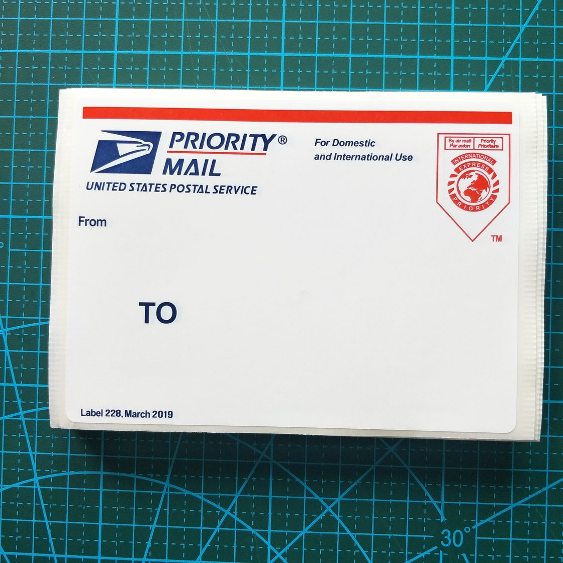 """Image of Free shipping 50pcs/100pcs Red Map USPS Priority Mail Eggshell Stickers For Sale Size 4.75""""x3.25"""""""