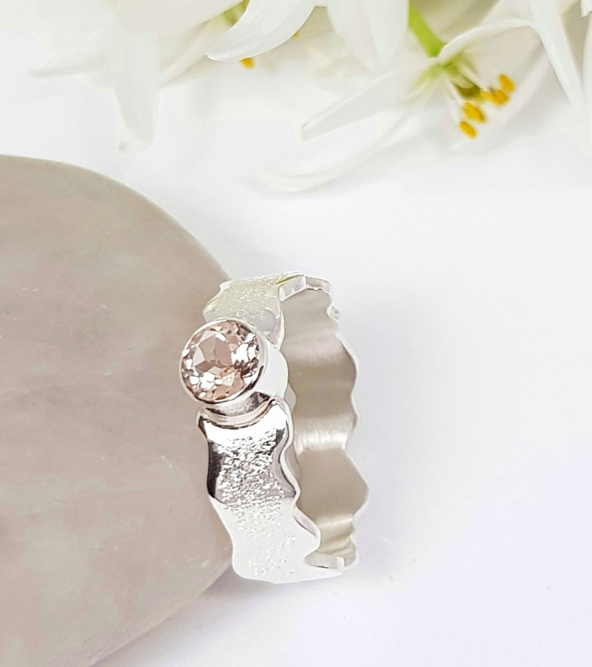 Image of Sterling Silver and Morganite Ring 'Wave'