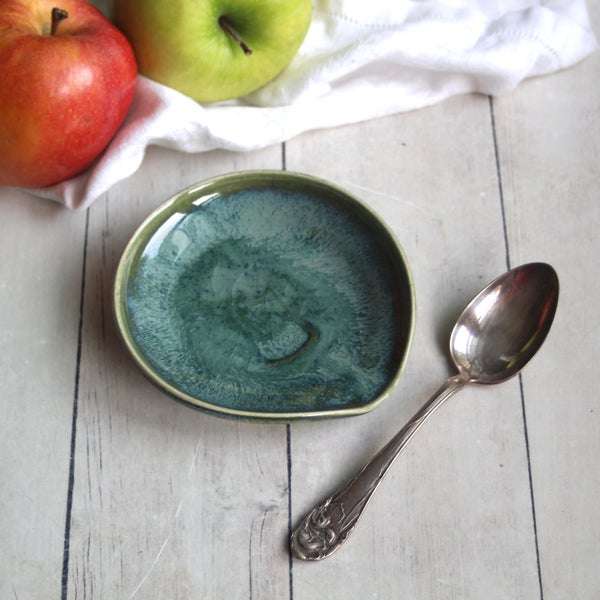 Image of Green Coffee Spoon Rest, Handcrafted Spoon Holder for your Coffee Station